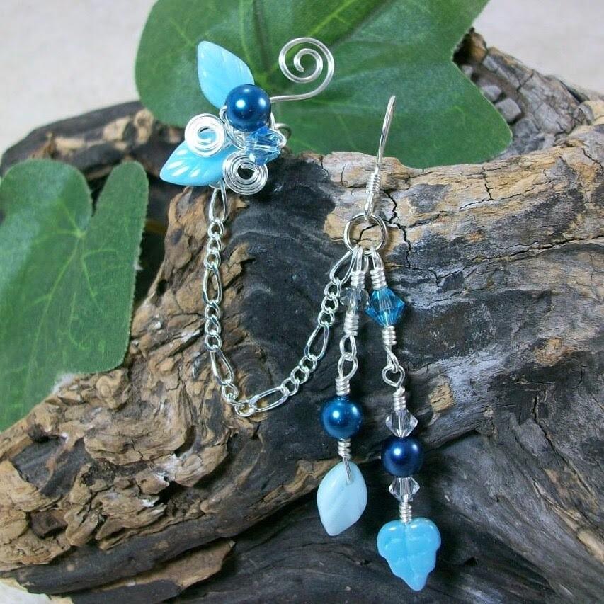 Aqua Blue Chain Ear Cuff Earring