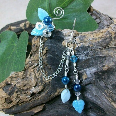 Aqua Blue Chain Ear Cuff Earring