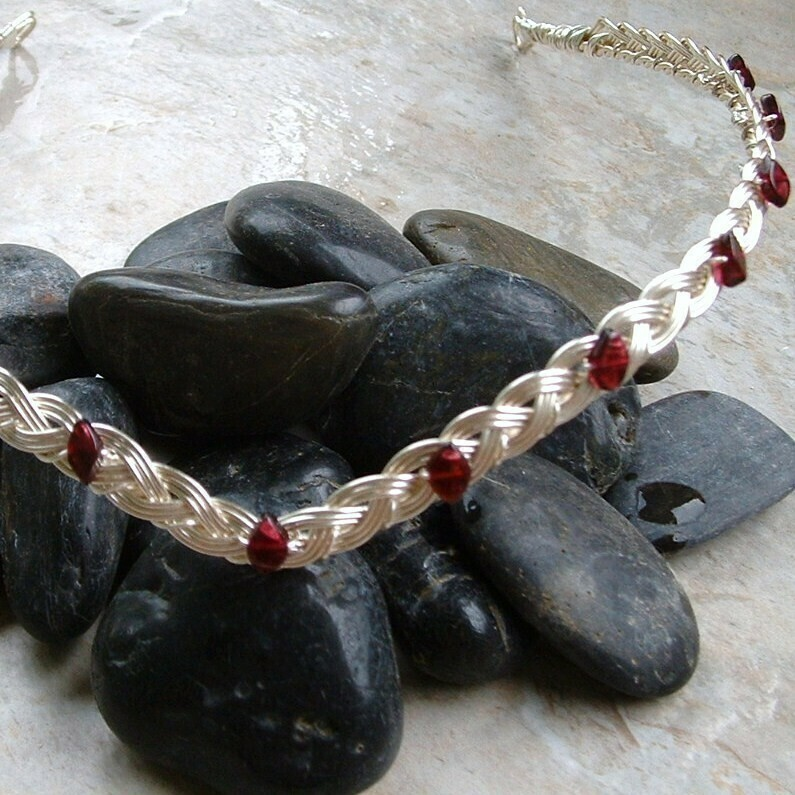 Garnet Celtic Wedding Tiara Circlet in Silver or Gold