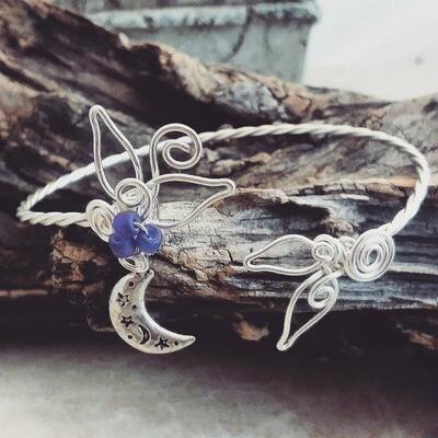Moon and Stars Celestial Cuff Bracelet Bangle