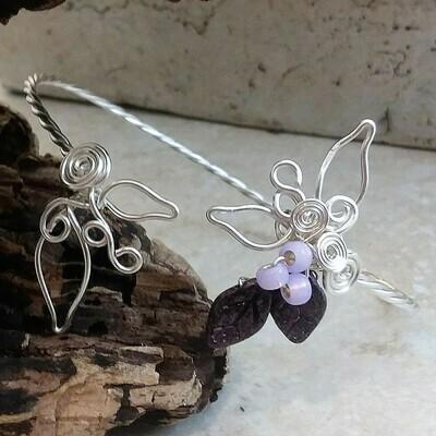 Leaf and Berries Woodland Fairy Cuff Bracelet Bangle