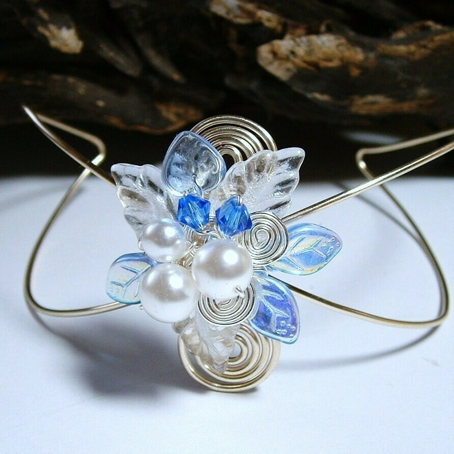 Sapphire and Ice Wrist Corsage Cuff Bracelet