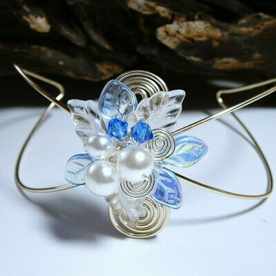 Sapphire and Ice Wrist Corsage Cuff Bracelet