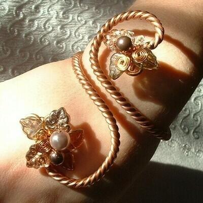 Copper Art Nouveau Arm Cuff Bracelet