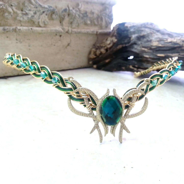 Emerald Green Oracle Gem Elven Circlet Tiara Headdress