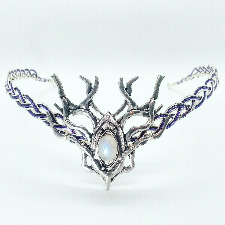 Moonstone Elven Headdress Celtic Woodland Stag Circlet