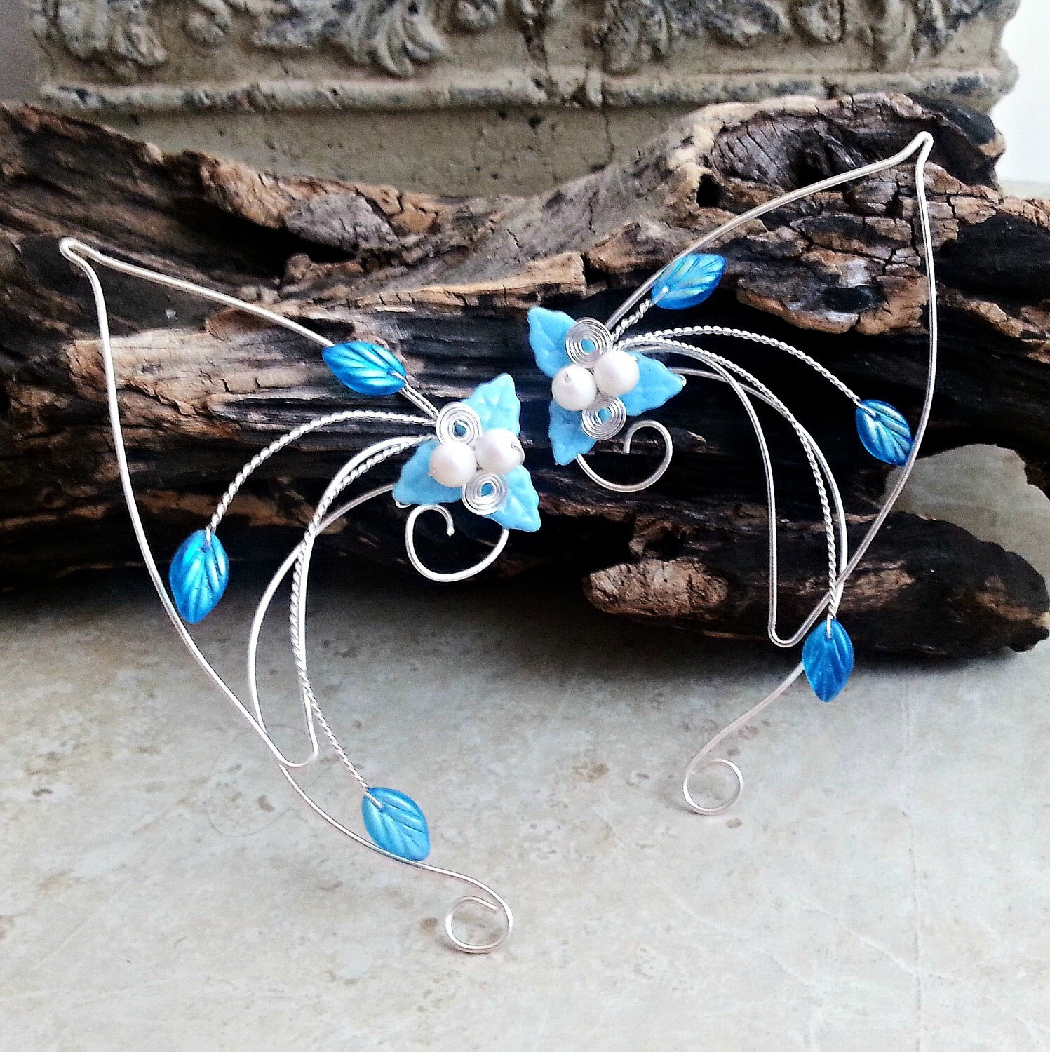 Aqua Blue Elf Ears Ear Cuff Wrap