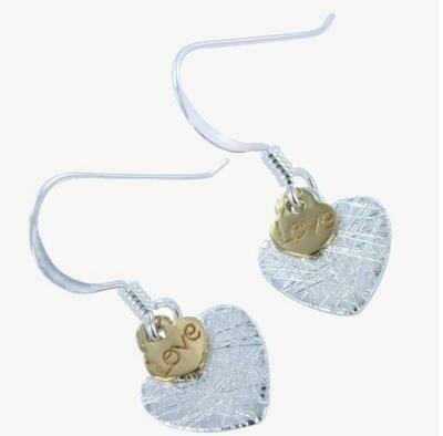Silver Scratched Love Heart Earrings