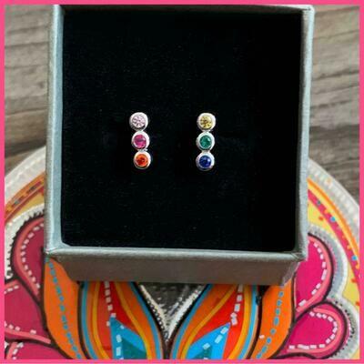 Rainbow Stone Stud Earrings