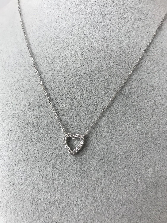 Tiny CZ heart necklace