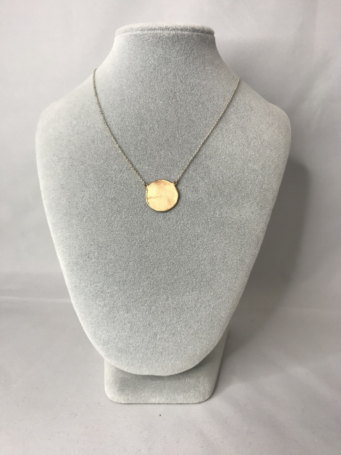 Gold Hammered Circle Necklace