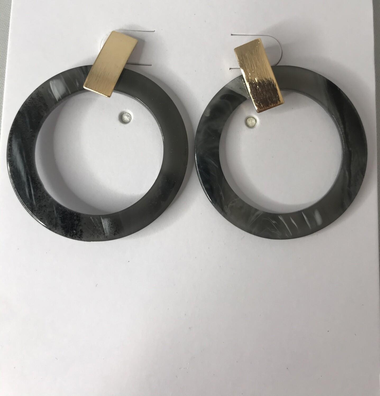 Grey & Silver Circle Hoops
