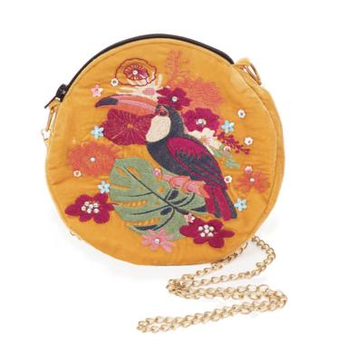 Velvet Embroidered Bag - Toucan