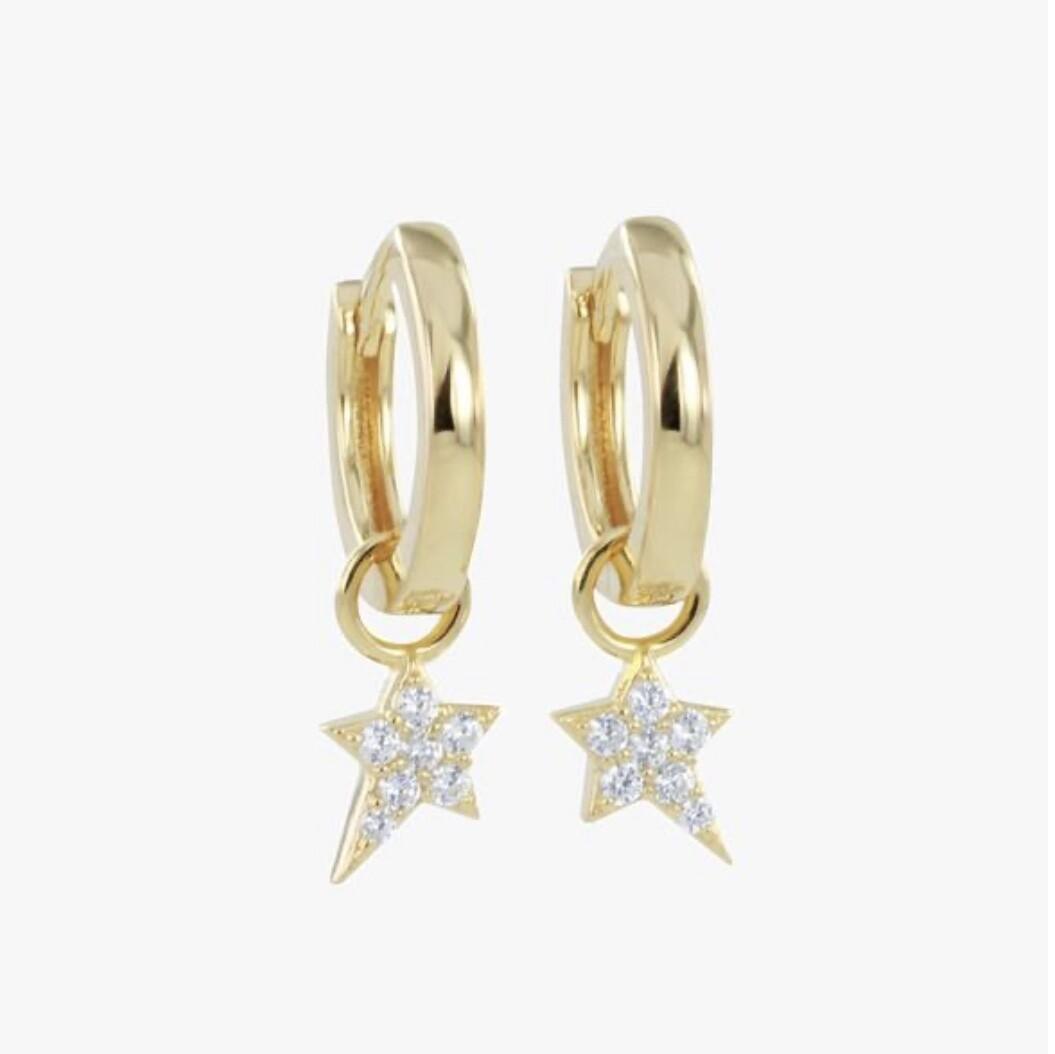 Starry night Pave Hoop Earrings