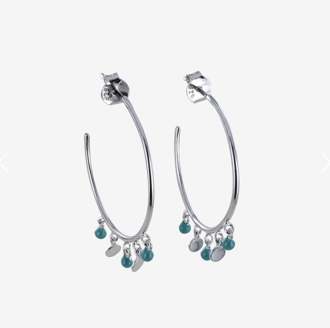 Turquoise & silver sequin hoops