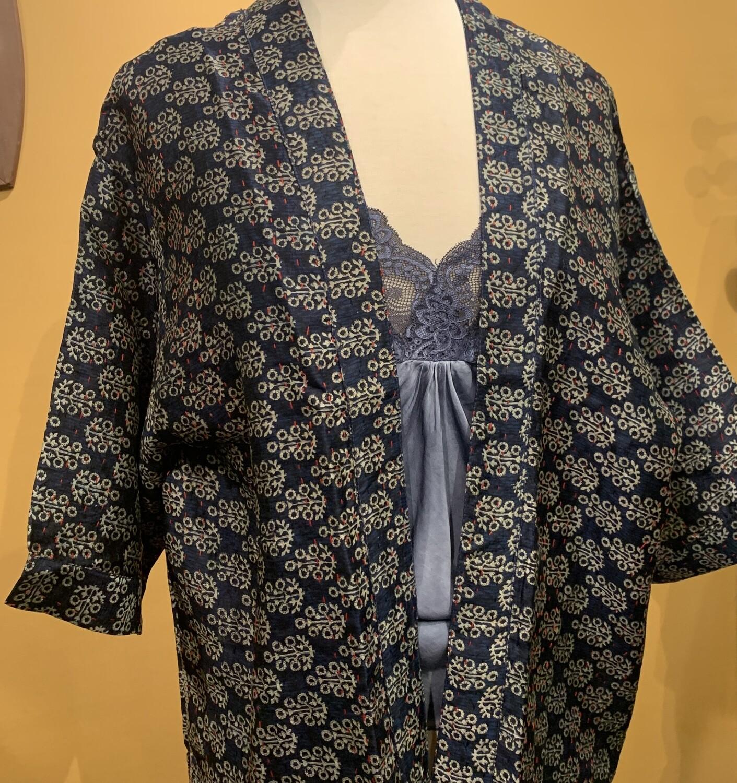 Silk Kantha Kimono Navy