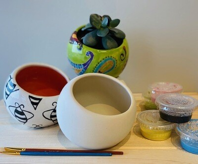 Take Home Tilted Bowl / Planter with Glazes - Pick up Curbside
