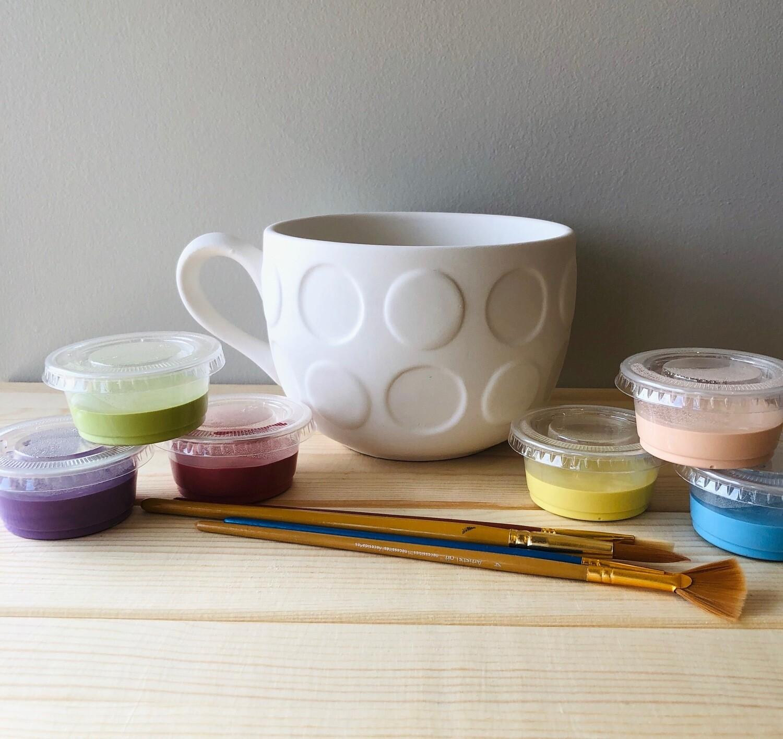 Take Home Jumbo Dot Latte Mug with Glazes - Pick up Curbside