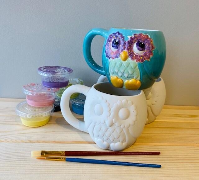 Take Home Owl Mug with Glazes - Pick up Curbside