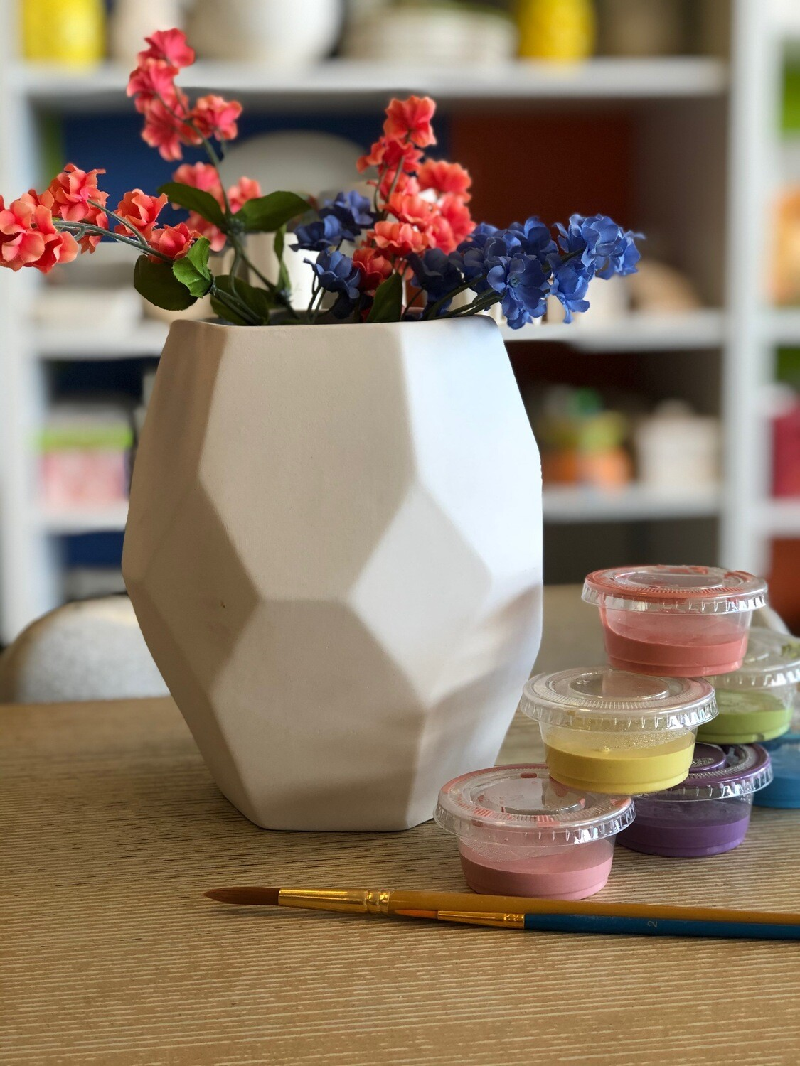 Take Home Faceted Vase with Glazes - Pick up Curbside
