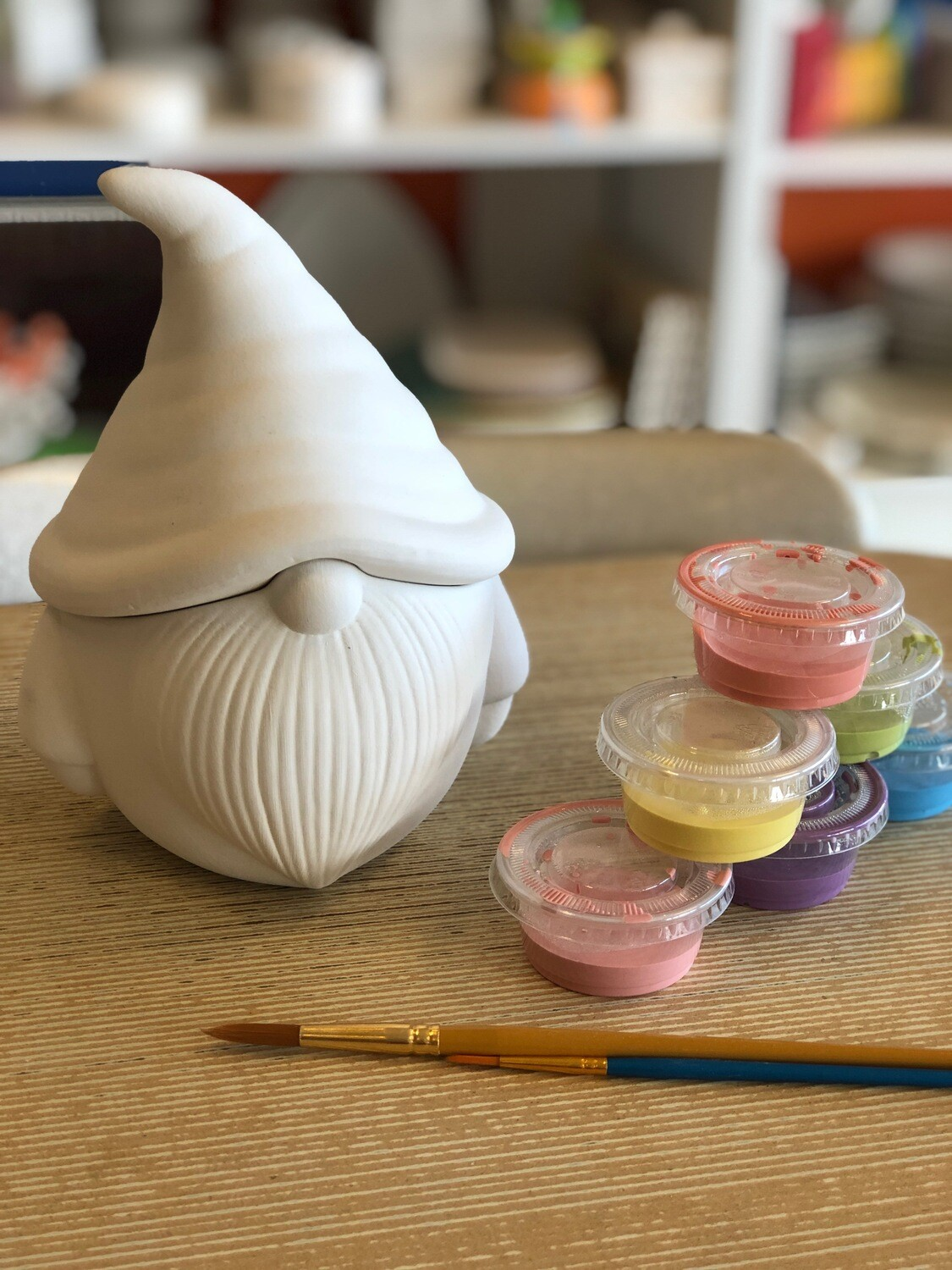 Take Home Gnome Cookie Jar with Glazes - Pick up Curbside