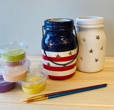Take Home Mason Jar Lantern with Glazes - Pick up Curbside