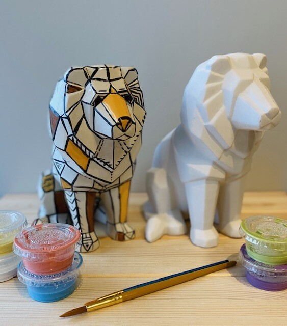 Take Home Faceted Lion with Glazes - Pick up Curbside