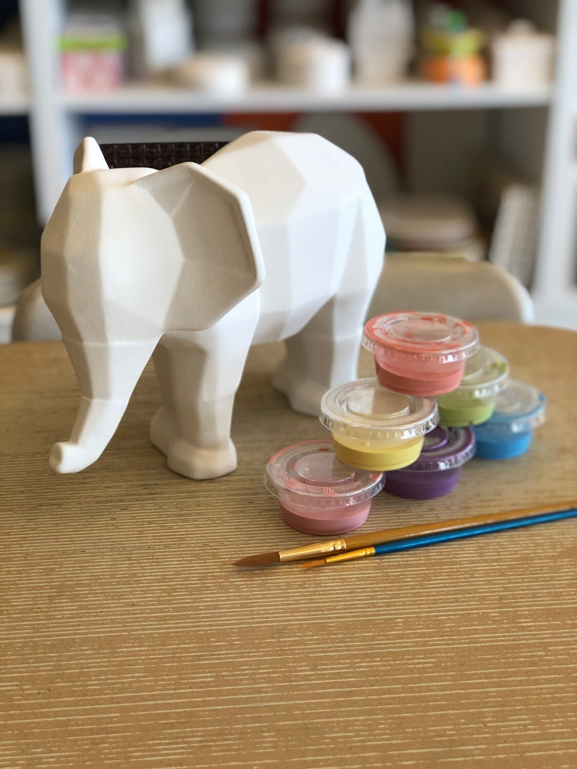 Take Home Faceted Elephant with Glazes - Pick up Curbside