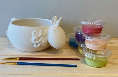 Take Home Unicorn Bowl with Glazes - Pick up Curbside