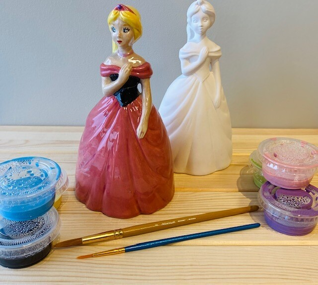 Take Home Princess Bank with Glazes - Pick up Curbside