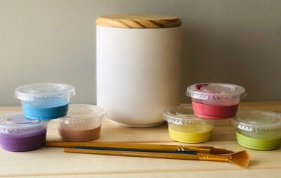 Take Home Modern Wooden Lid Canister with glazes - Pick up Curbside
