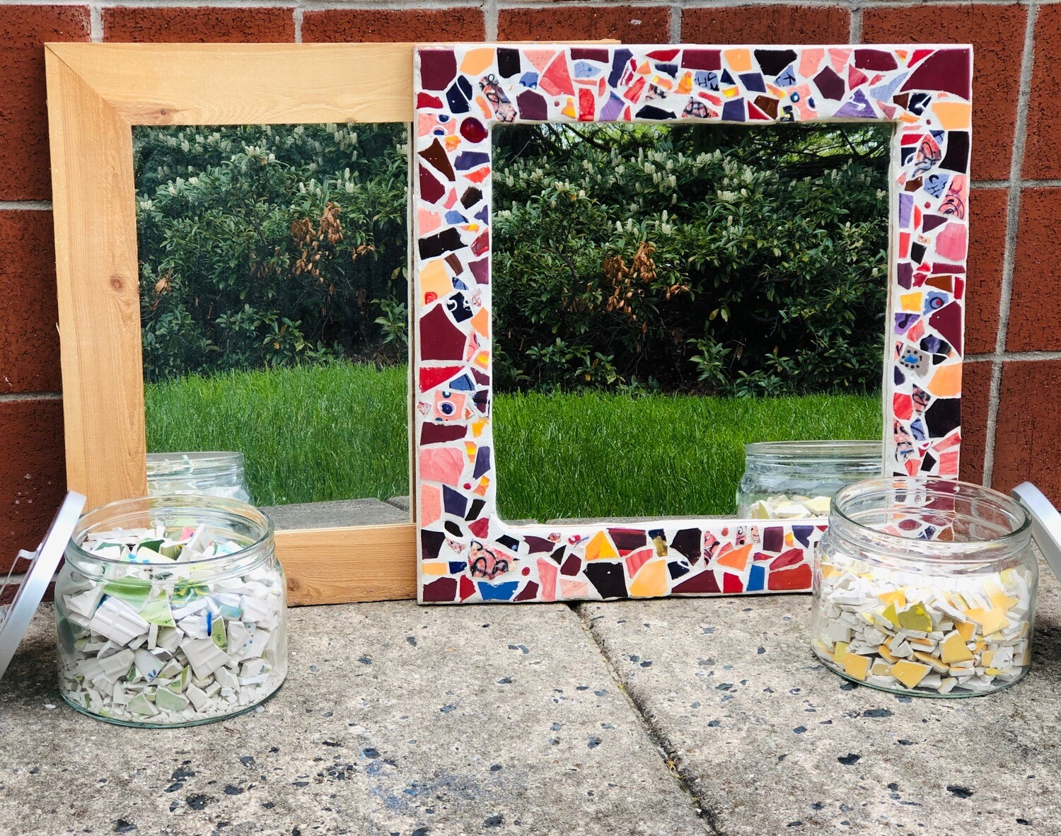"Take Home 23.5"" Square Mosaic Mirror - Pick up Curbside"