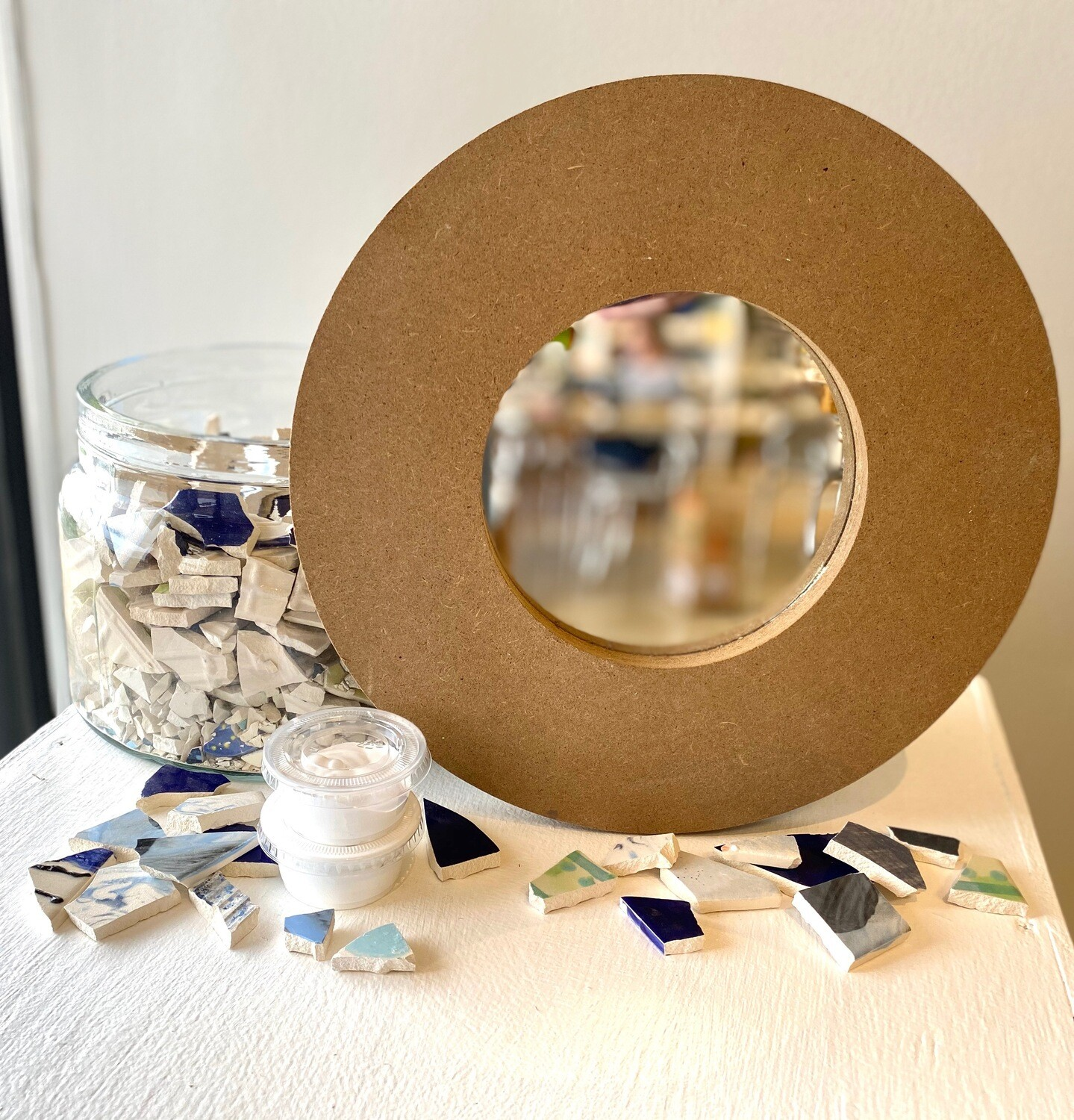 """Take Home 12"""" Round Mosaic Mirror - Pick up Curbside"""