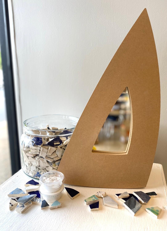 "Take Home 18"" Triangular Mosaic Mirror - Pick up Curbside"