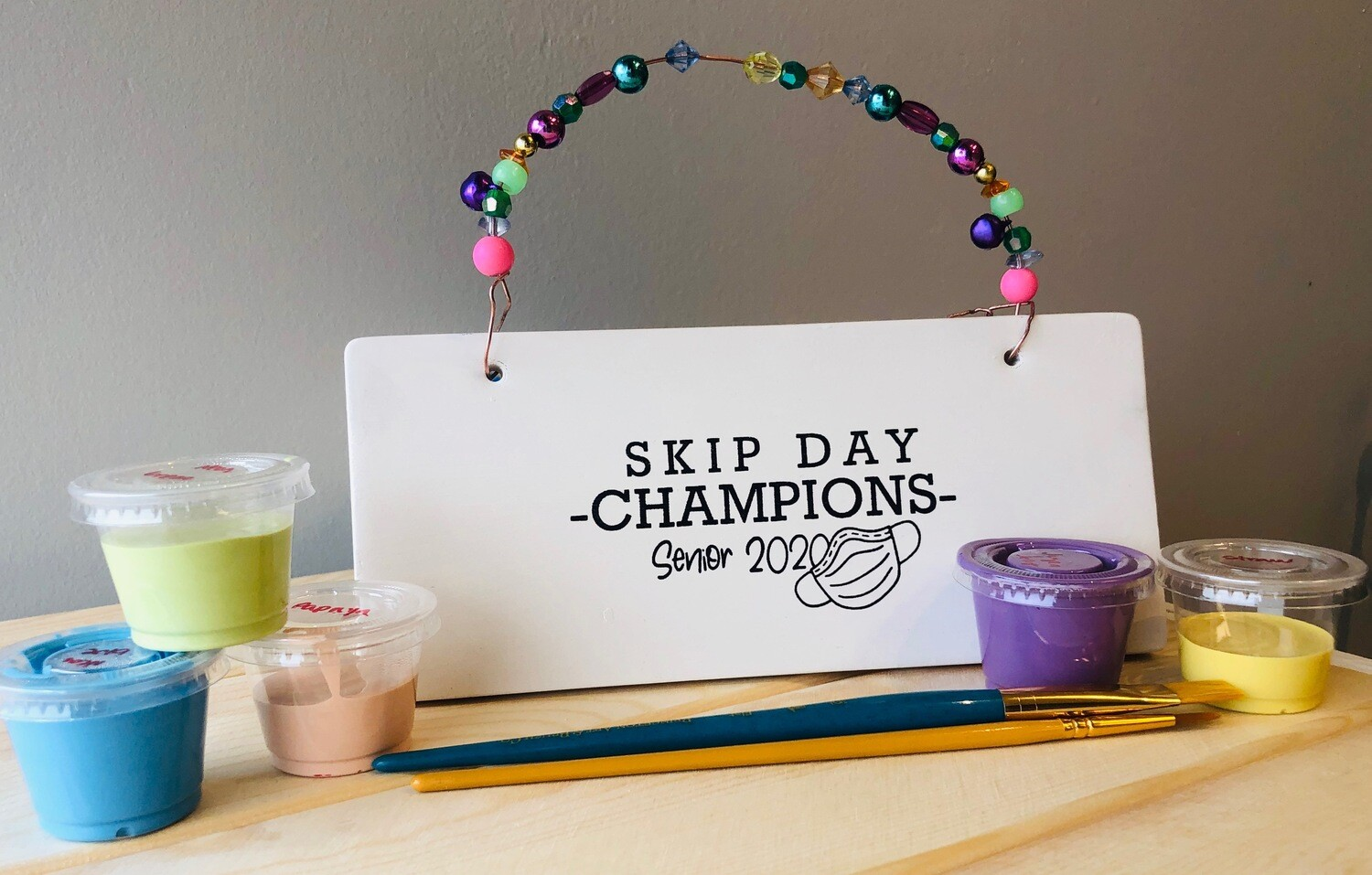 Take Home Coloring Book Class of 2020 Skip Day Champions Plaque with Glazes - Pick up Curbside