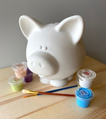 Take Home Large Piggy Bank with Glazes - Pick up Curbside