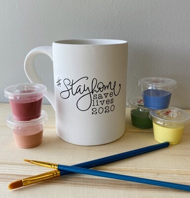 Take Home Coloring Book 16 oz #Stayhome Mug with Glazes - Pick up Curbside