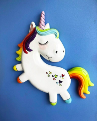 Take Home Unicorn Plaque with glazes  - Pick up Curbside