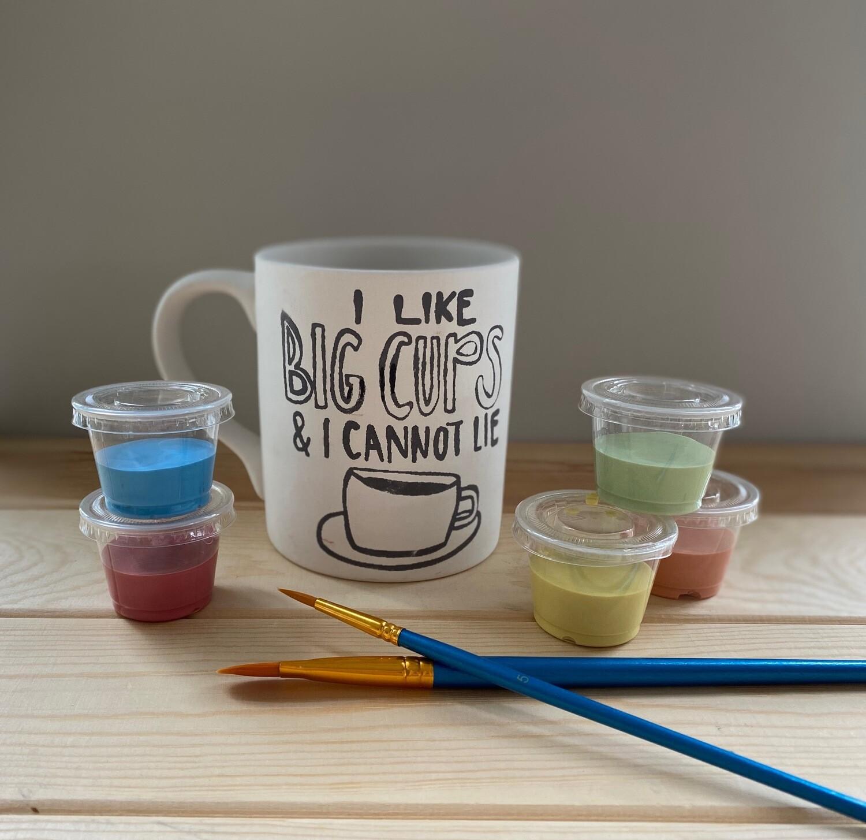 Take Home Coloring Book 12 oz I Like Big Cups Mug with Glazes - Pick up Curbside