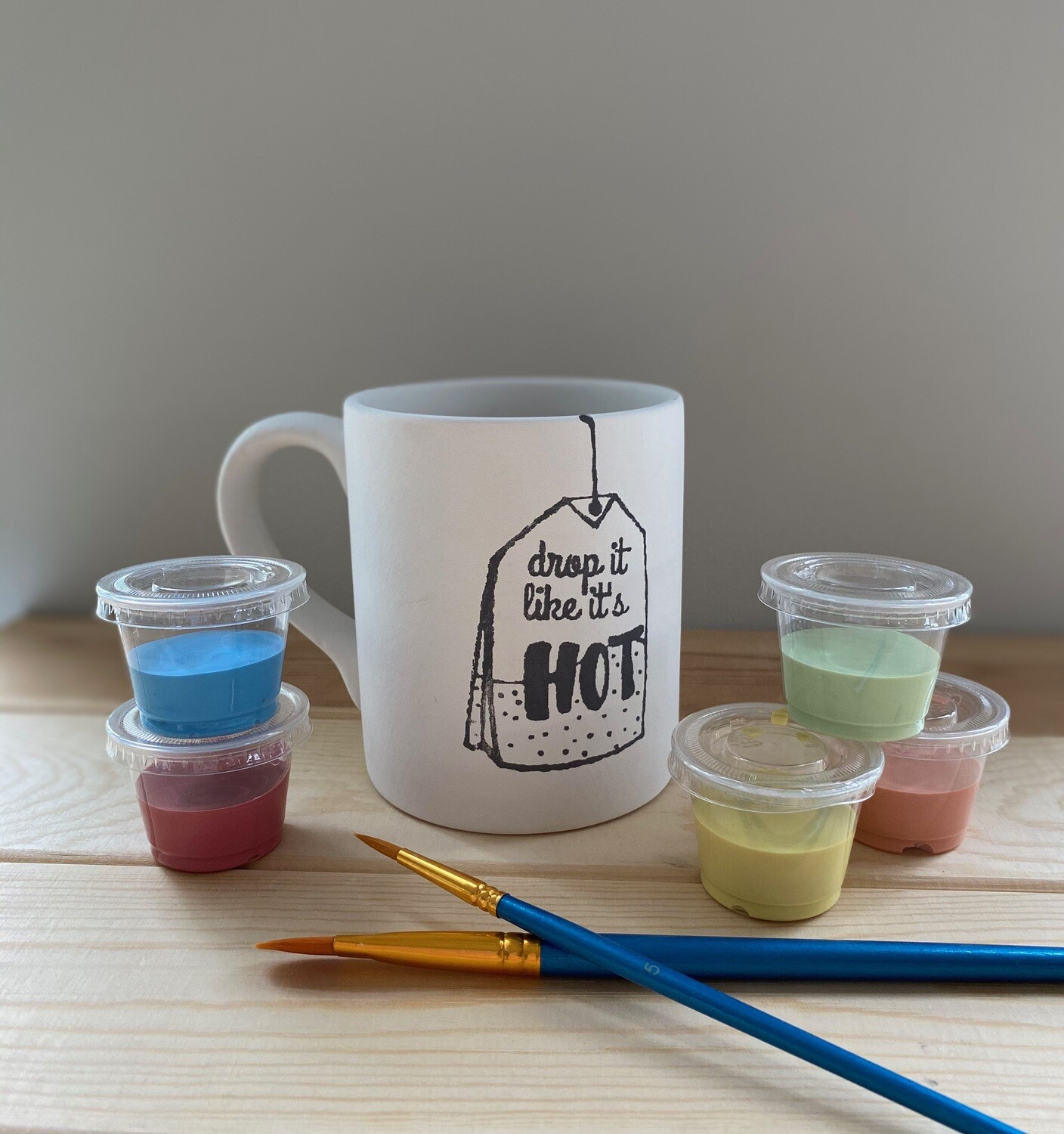 Take Home Coloring Book 12 oz  Drop it Like it's Hot Mug with Glazes - Pick up Curbside