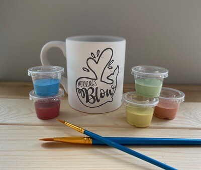 Take Home Coloring Book 12 oz Whale Mornings Blow Mug with Glazes - Pick up Curbside