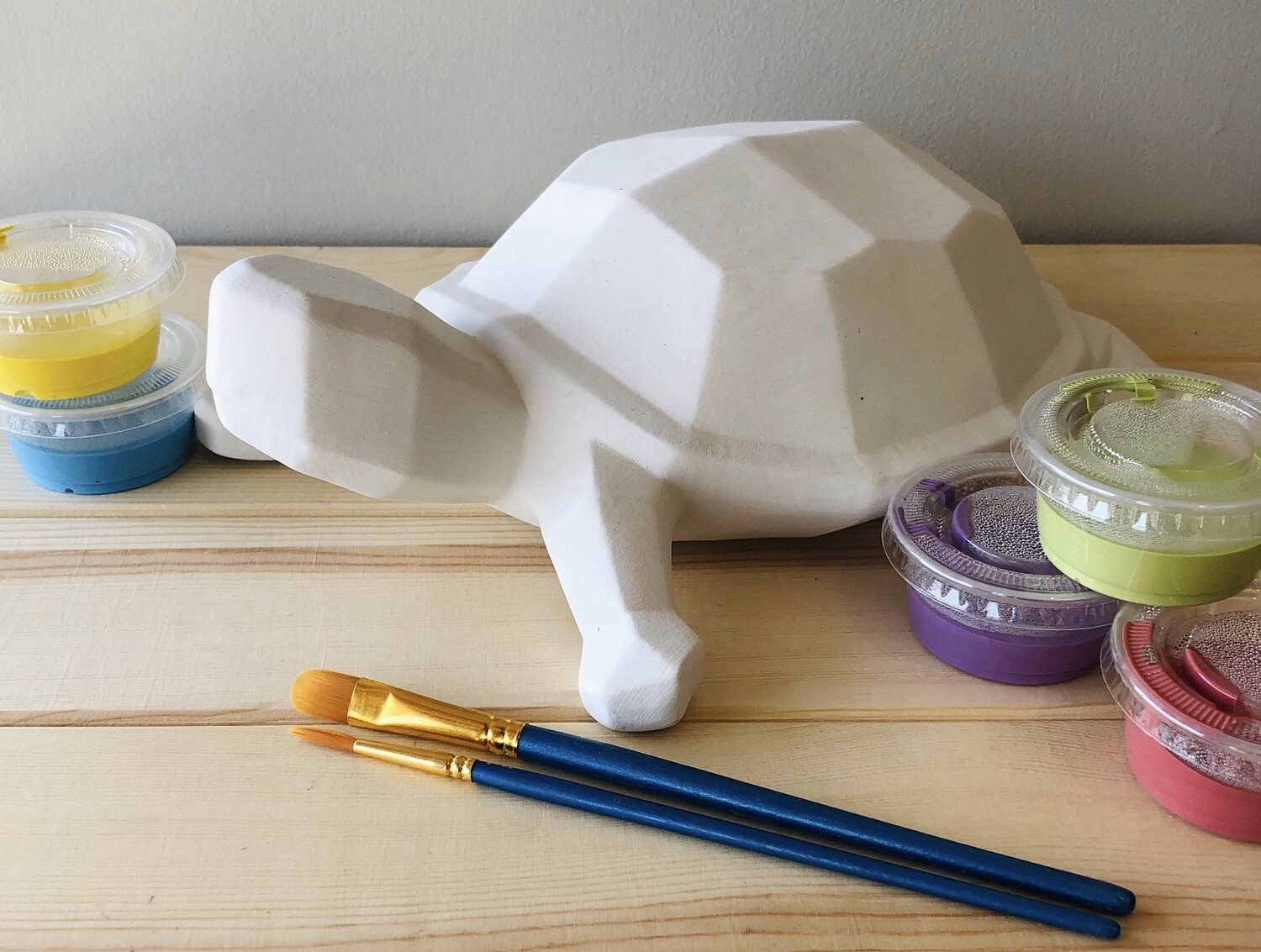 Take Home Faceted Turtle with Glazes - Pick up Curbside