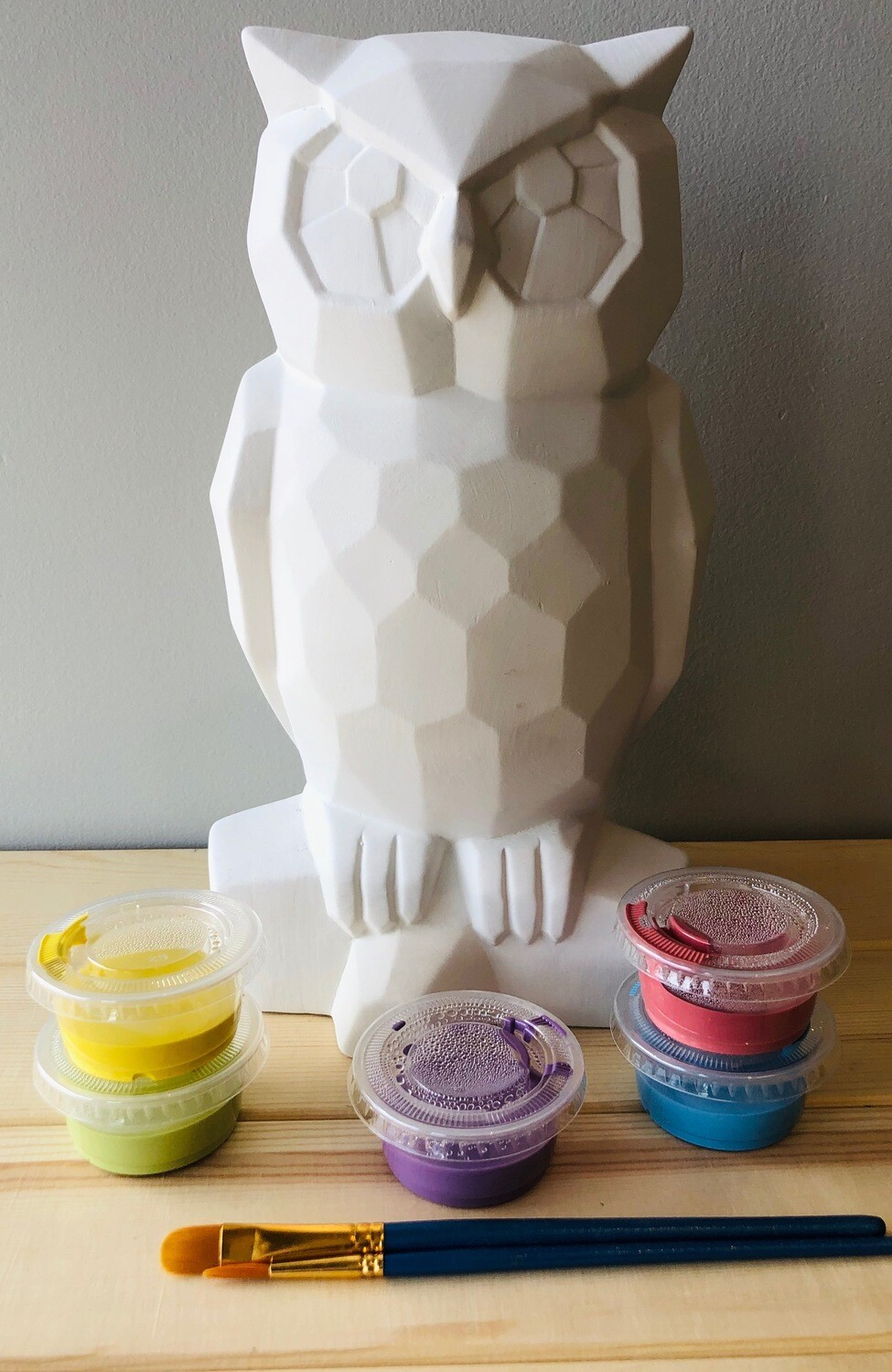 Take Home Faceted Owl with Glazes - Pick up Curbside