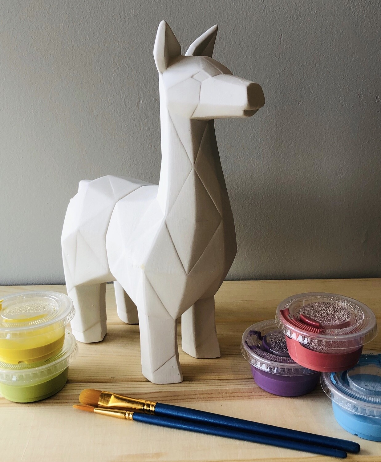 Take Home Faceted Llama with Glazes - Pick up Curbside