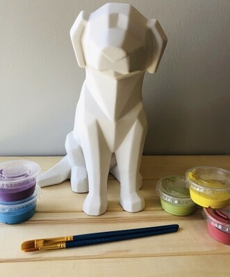 Take Home Faceted Dog with Glazes - Pick up Curbside