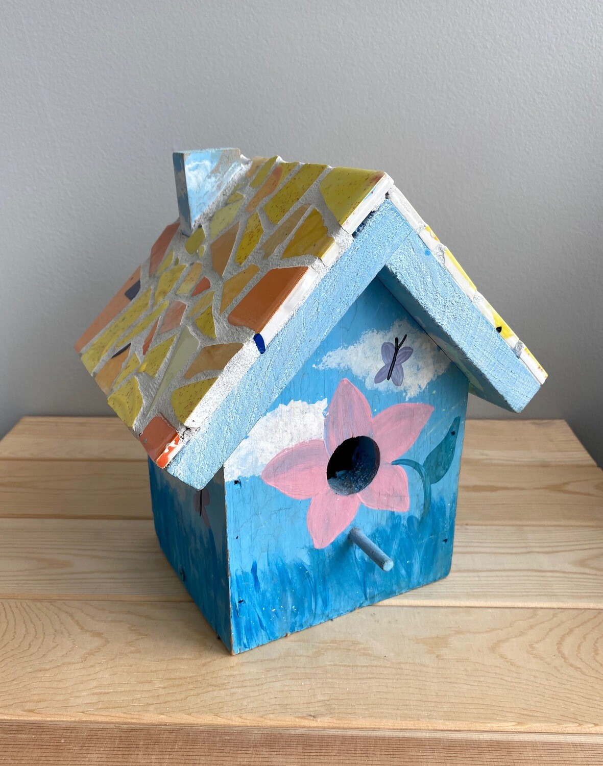 Mosaic Wooden Bird House - Sample Sale