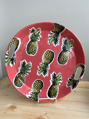 Pink Pineapple Platter with Handles - Sample Sale