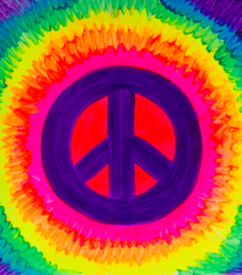 Camp in a Bag! Tie Dye Peace Sign Canvas  - Pick up Curbside
