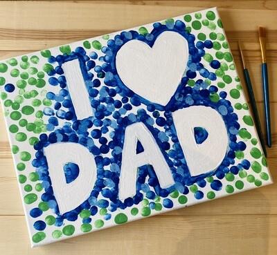 "Take Home 11""x14"" Fingerprint I Love Dad Canvas  - Pick up Curbside"