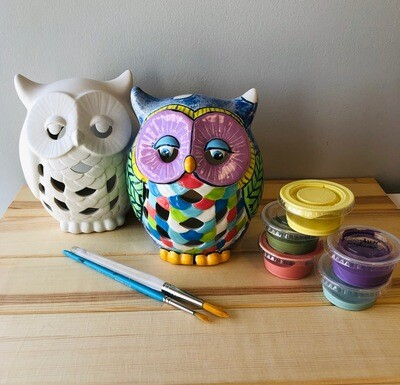 Take Home Owl Lantern with Glazes - Pick up Curbside